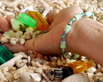 Upcycled beaded bracelet, green stackable bracelet, trash to treasure, festival jewelry, unique upcycled, colorful summer bracelet