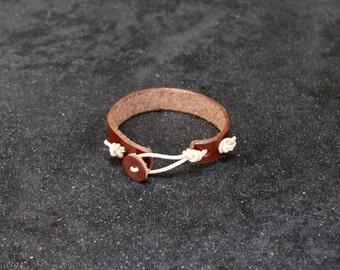 leather button cuff bracelet