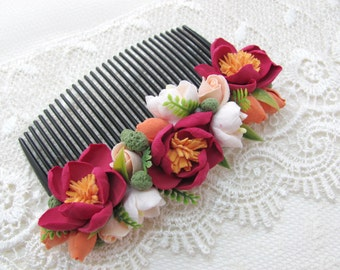 Flower hair Comb, Comb, hair comb, hair accessories, flovers, accessories, claycraft by deco, clay, polymer clay,