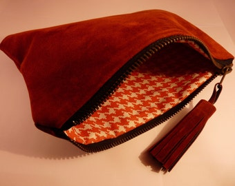 Pouch rust suede synthetic - internal printed Houndstooth