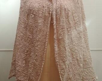 Hand knit cotton cape