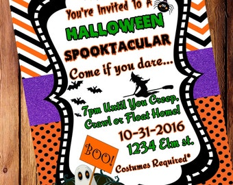 Halloween, Spooktacular. Party Invitation, Halloween Bash, Halloween Birthday, Party, Halloween Invites, Costume party, (Digital File)
