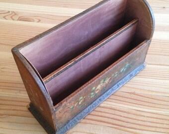 Vintage Leather Desk Organizer