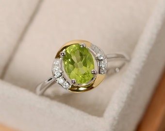 Oval peridot ring, promise ring gold, yellow gold, sterling silver, August birthstone