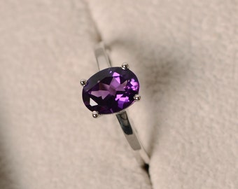 Purple amethyst ring, sterling silver, February birthstone ring, solitaire ring