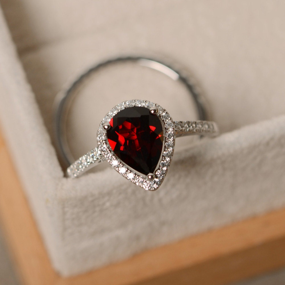 Garnet wedding ring Etsy
