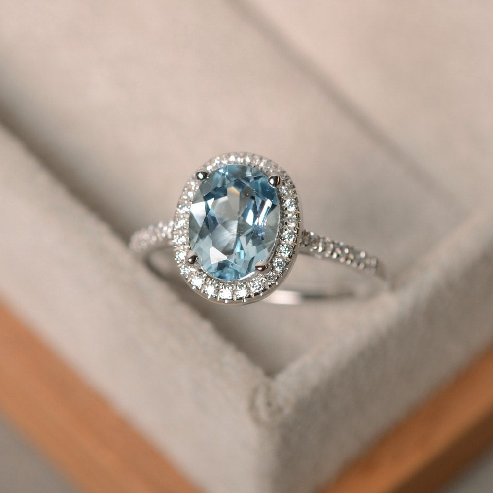 Stone Wedding Rings: March Birthstone Aquamarine Ring Sterling Silver Halo Ring