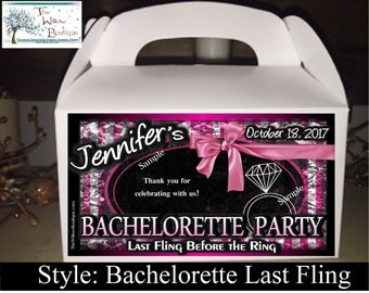 Pk 4 - Bachelorette Party Favor box Pastry Box Personalized
