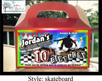 SKATEBOARD BIRTHDAY Goody Box Loot Favors Personalized with your childs name etc.