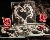 Set Of 4 Glass Coasters Engraved - Love Heart With Birds