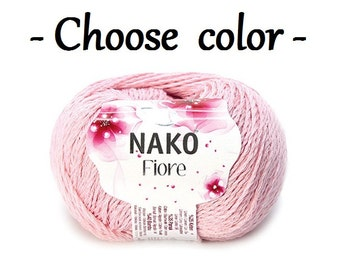 Linen cotton viscose yarn FIORE by Nako Knitting supplies Crochet linen thread Summer linen yarn Cotton linen blend Flax ley Rayon cord