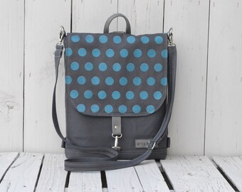 Polka dots cycling backpack, turquise and gray rucksack, 2in1 convertible shoulder bag, school bag, laptop carrier, mini and large sizes