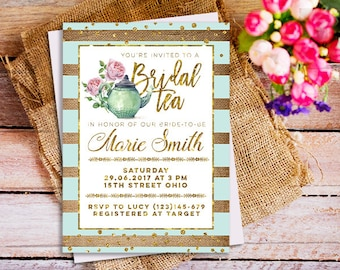 A Baby is Brewing tea party Invitation, Mint Bridal shower Tea Party invitation, gender neutral Bridal shower Tea Party invitation,  mint