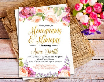 Monograms & Mimosas Invitation,  Printable Monograms and Mimosas Invite, Monograms And Margaritas Bridal Shower Invitation, gold and peach