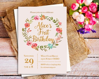 Blush and Gold Invitations, Floral Wreath Invites, One Year Old Birthday, second birthday invitation, 5x7 invites, Two Year Old Birthday