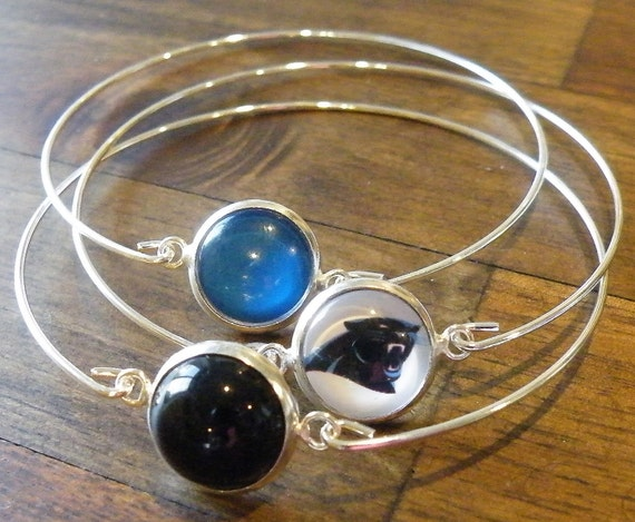 items similar to carolina panthers bracelet bangle set. Black Bedroom Furniture Sets. Home Design Ideas