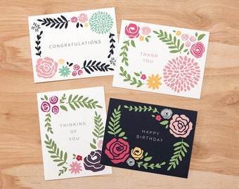 "Simple Floral Greeting Cards (Set of 8) – 4.25"" x 5.5"" – Congratulations, Thank you, Thinking of You, and Happy Birthday"
