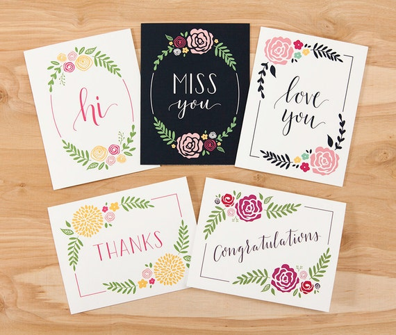 Set of calligraphy greeting cards x