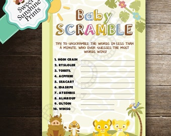 Lion King Baby Shower Game - Word Scramble - Instant Download