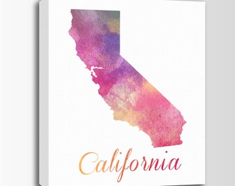 California Canvas Print, Watercolor Art, California Map, Personalized Art, Wall Decor, Watercolor Typography Art, Nursery Art, USA