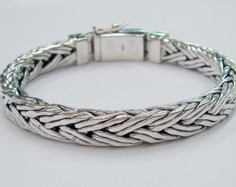 Double  wire woven chain 925 sterling silver bracelet