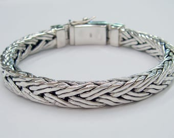 Double  ling woven chain 925 sterling silver bracelet