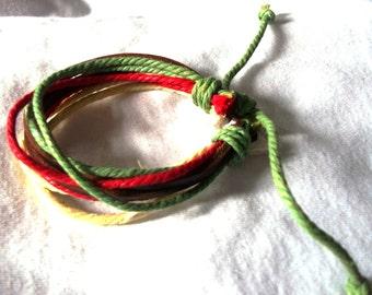 Citrus Shades Hemp And Leather Surfer Cuff, Wristband, Ethnic Bracelet