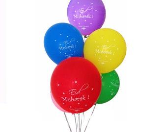 10 Large Eid Mubarak Balloons, Eid Decorations - Multi Coloured Pack