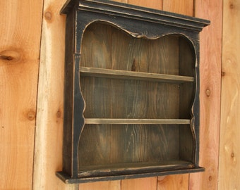 Shabby Chic Style Black Wall Shelf, Distressed Wall shelf, Book Shelf, Distressed, French Country, Shadow Box, Display Case, CEDAR, HANDMADE