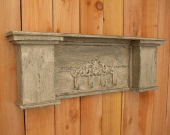 Floating Distressed handmade Cedar Mantle shelf, Coat Hook, Headboard, wall shelf, distressed white, arched, shabby Chic, French Country