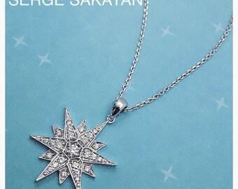 1/3 Carat Diamond Star Pendant Diamond Snowflake Pendant in 18K White Gold Diamond Star Pendant Diamond Wedding Necklace 18K gold chain inc