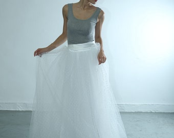 50shouse _ 50s inspired Polka dots tulle layers Tu Tu Skirt fit for 50s tea /full length wedding skirt with ribbon waistband_custom