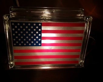 Etched American Flag Lighted Glass Block