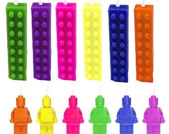 Lego Candles, Lego Man Candle, Birthday Candles, Lego Theme, Lego Party, Building Block Theme, Building Block Candles, Lego Men, 12 pc set
