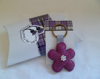 Scottish Tweed Flower Keyring