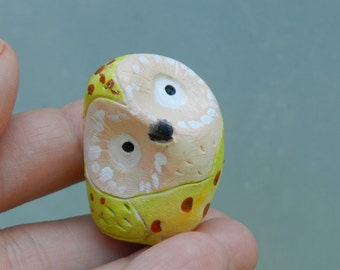 polymer clay owl cute clay owl totem pocket owl figurine