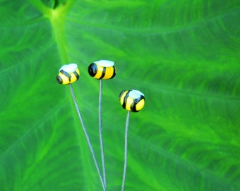 polymer clay bees set of 3 for fairy garden