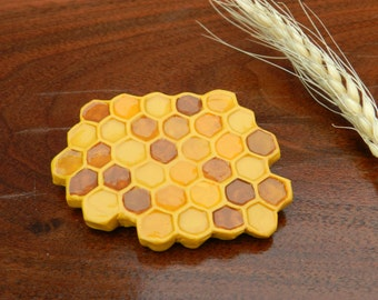 polymer clay brooch Honeycomb,ooak brooch