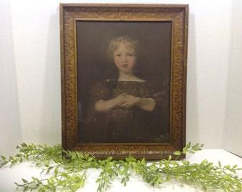 Antique Hand Painted Print / Little Child