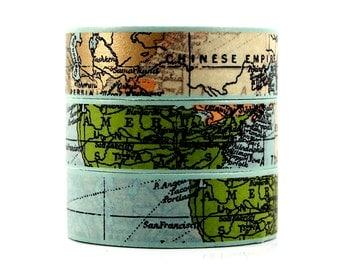 Washi tape world card gold