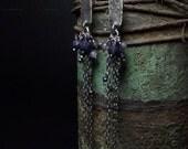 Iolite earrings Blue sapphire Quartz Tanzanite Sterling silver earrings Long earrings Oxidized  Navy blue