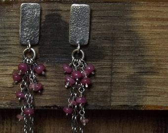Ruby earrings Pink sapphire Sterling silver earrings Raw sterling silver Long earrings Oxidized