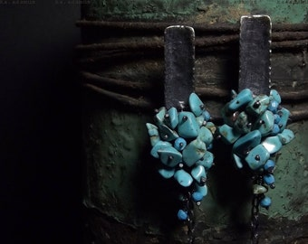 Howlite earrings Sleeping beauty Turquoise Raw sterling silver Oxidized Long earrings
