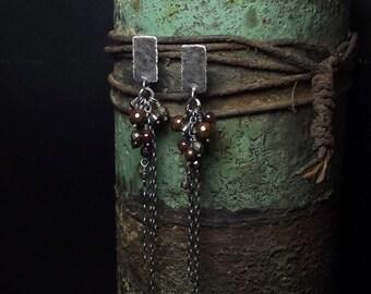 Bronzite earrings Garnet Pyrite Sterling silver earrings Long earrings Oxidized