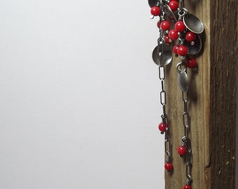 Red coral earrings Sterling silver earrings Long earrings Oxidized