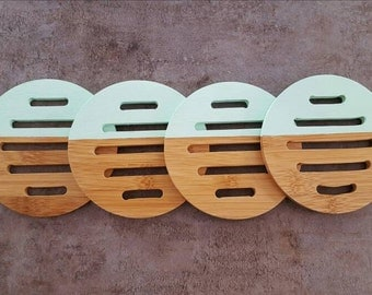Set of 4 Wooden Coasters - Mint Green