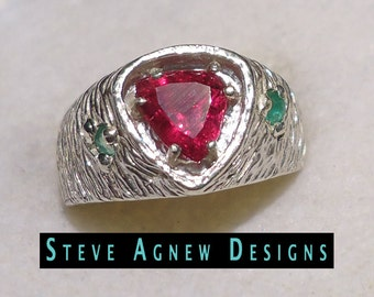 Pink Tourmaline and Emerald Ring