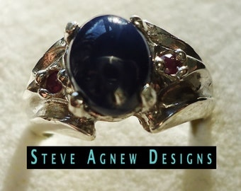 Star Sapphire and Ruby Ring