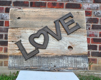 """Primitive decor, rustic wall decor, """"love"""" sign"""