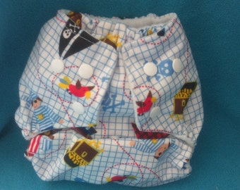 All-in-one diaper O / S PUL Pirates with bamboo inserts